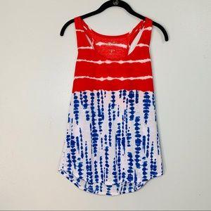 Arizona Jeans Co. Red, White, & Blue Tie Dye Tank